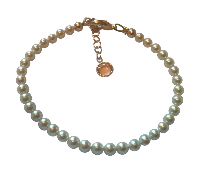BbEmerald Elegant White Swarovski Adult Pearl Bracelet Small