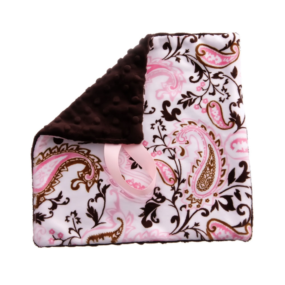 BbEmerald Pink Paisley Baby Pacifier Blanket