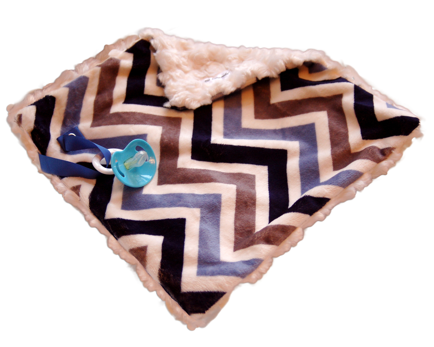 BbEmerald Indoor Outdoor Travel Comfort Safety Newborn Infant Child Soft Baby Blue Chevron Minky Pacifier Blanket at Sears.com