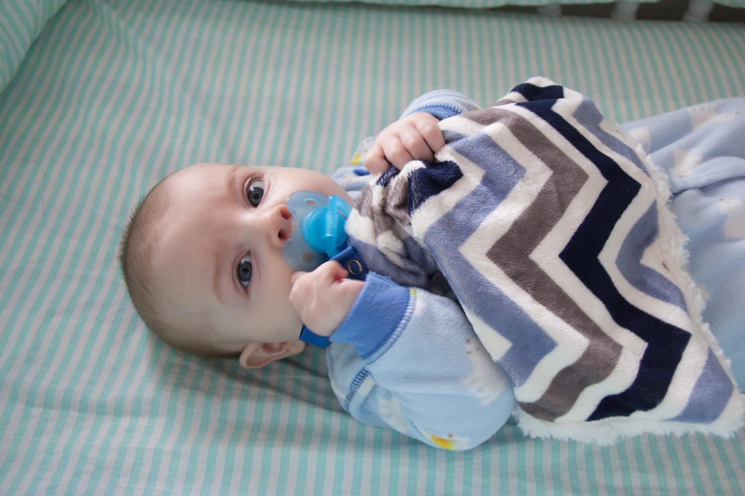 Blue Chevron Minky Pacifier Blanket