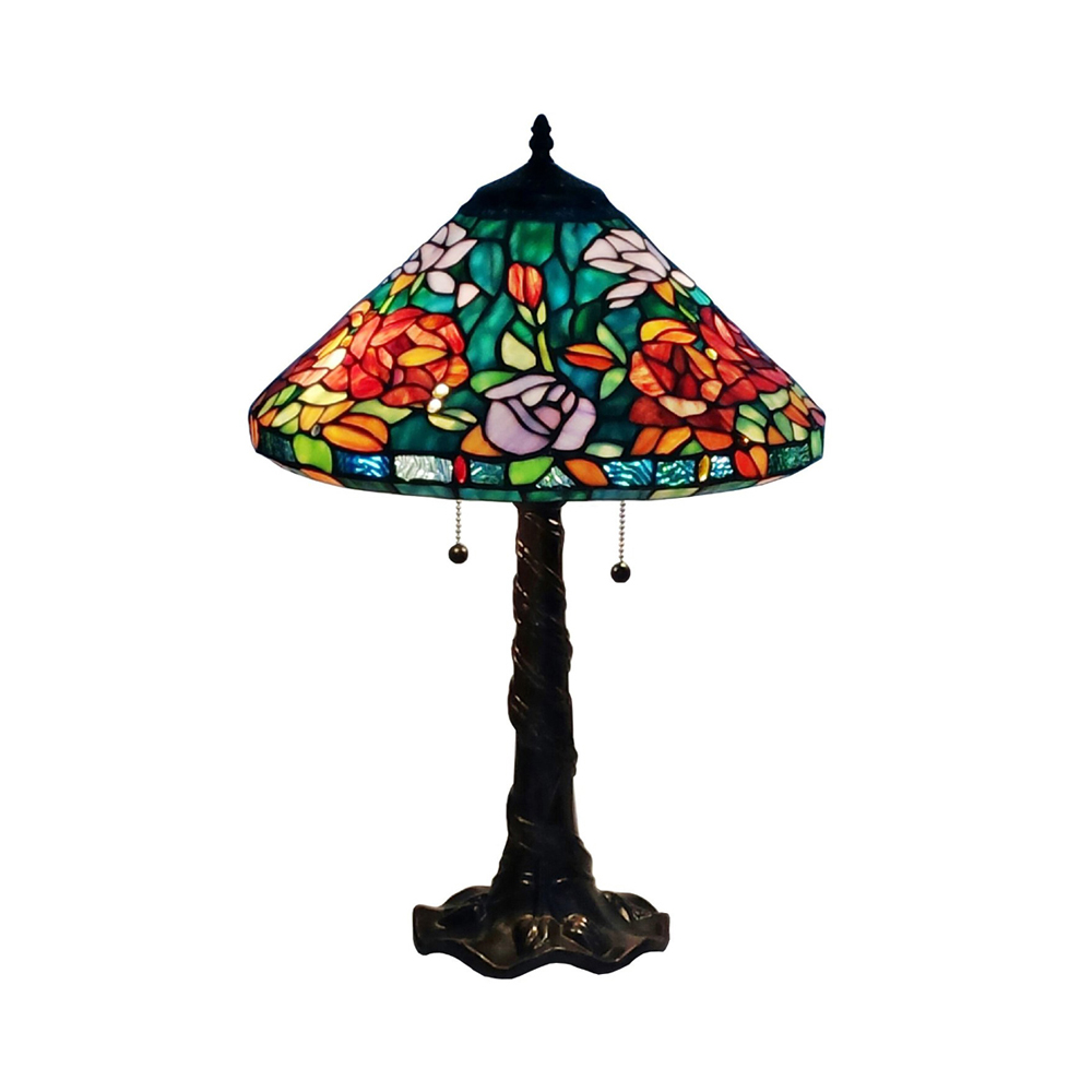 amora lighting am1104tl16 tiffany style roses design table lamp 24. Black Bedroom Furniture Sets. Home Design Ideas
