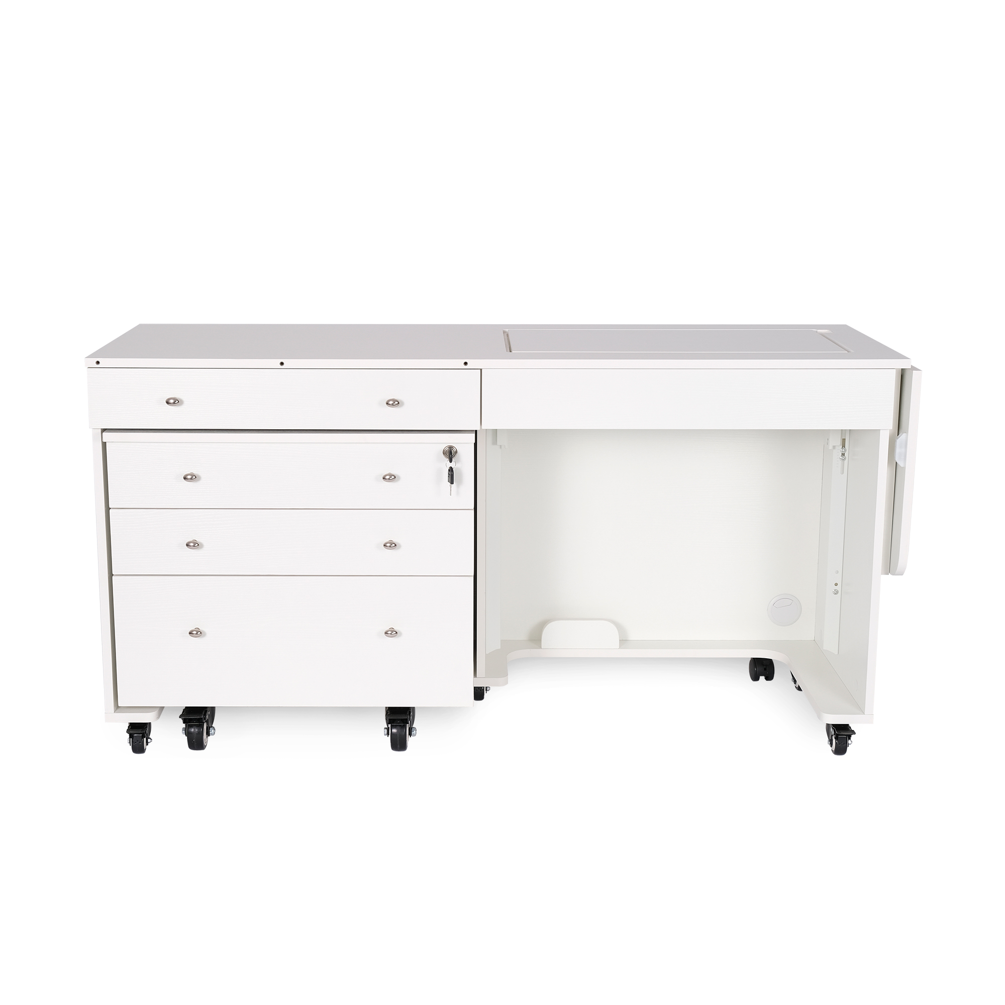 Kangaroo Kabinets Kangaroo & Joey White Ash Sewing Machine Cabinet Airlift With Free Turquoise Blue Sewing Chair at Sears.com