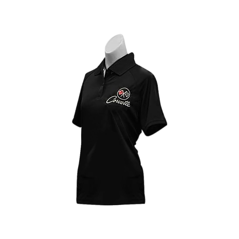 Brickels Racing Collectibles C2 Corvette Embroidered Ladies Performance Polo Shirt Black Large