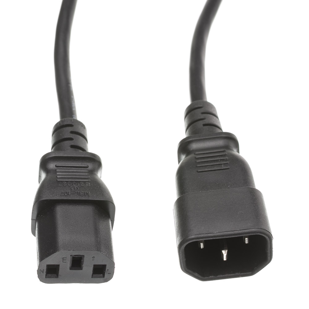 Offex Computer / Monitor Power Extension Cord, Black, C13 to C14, 10 Amp, 3 foot