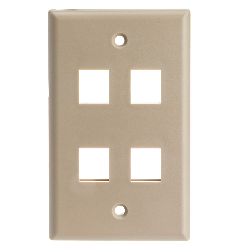 Offex Wholesale Wall Plate, 4 Hole for keystone Jack , Beige