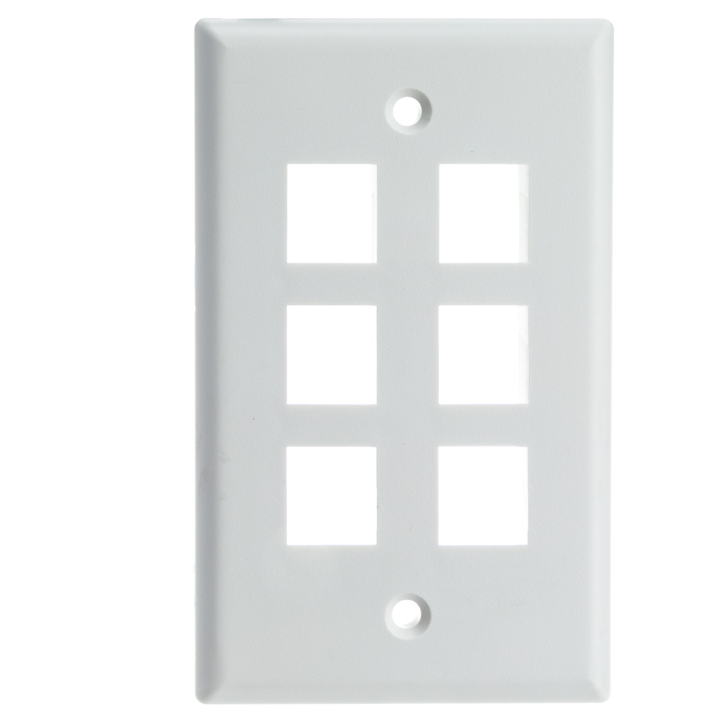 Offex Wholesale Wall Plate,6 Hole for keystone Jack , White [Electronics]