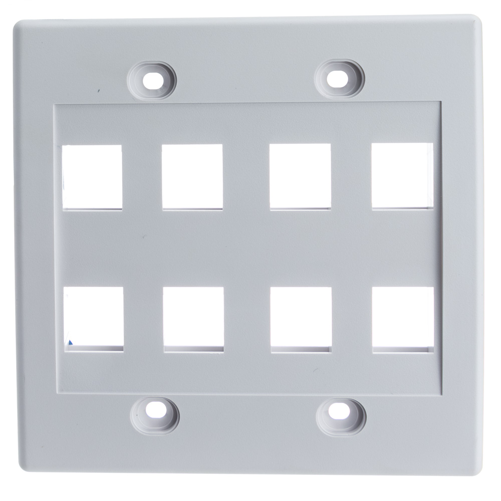 Offex Wholesale Dual Gang Wall Plate,8 Hole for keystone Jack , White
