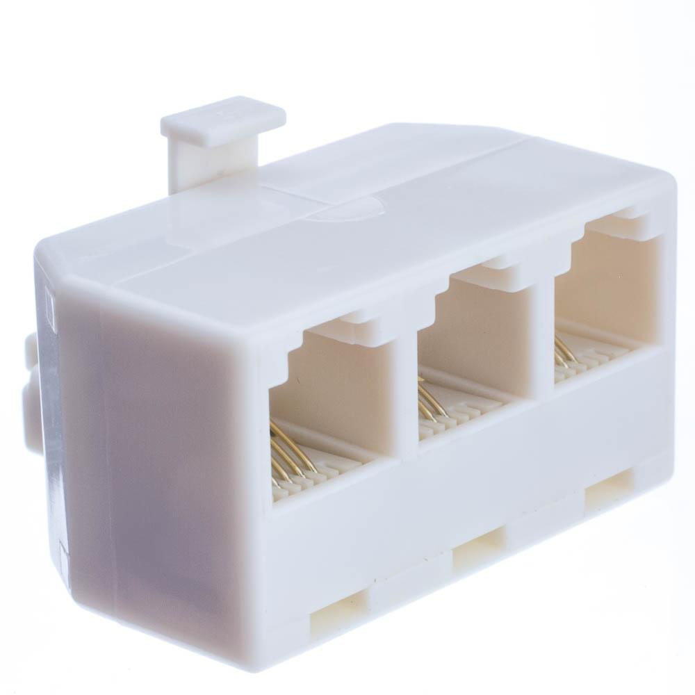 Offex Wholesale RJ11 / RJ12, Line 1, Line 2, Line 1 + 2, 1 Plug to 3 Jack T Adaptor