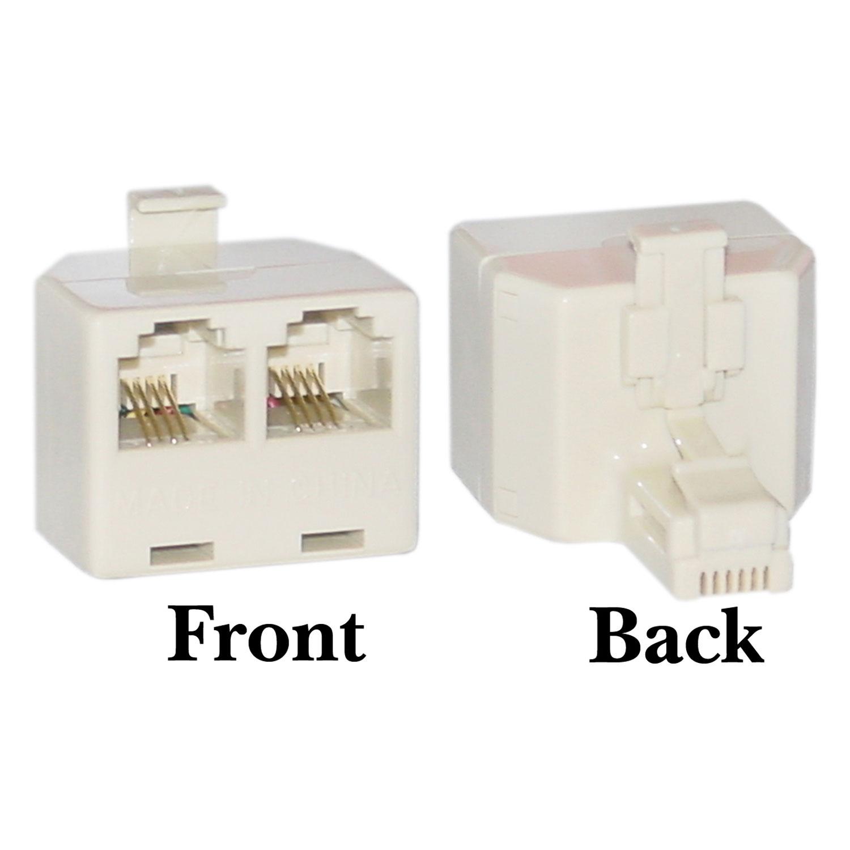 Offex Phone Splitter (Straight), RJ11 6P4C Male to 2 RJ11 6P4C Female