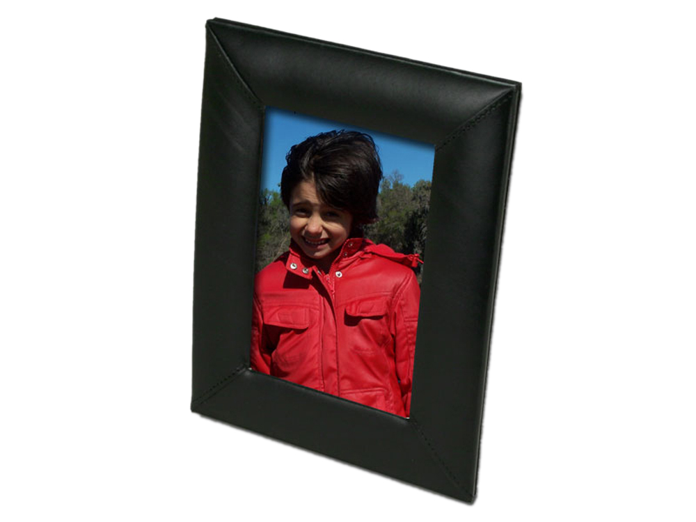 Offex Black Leather 4 x 6 Picture Frame