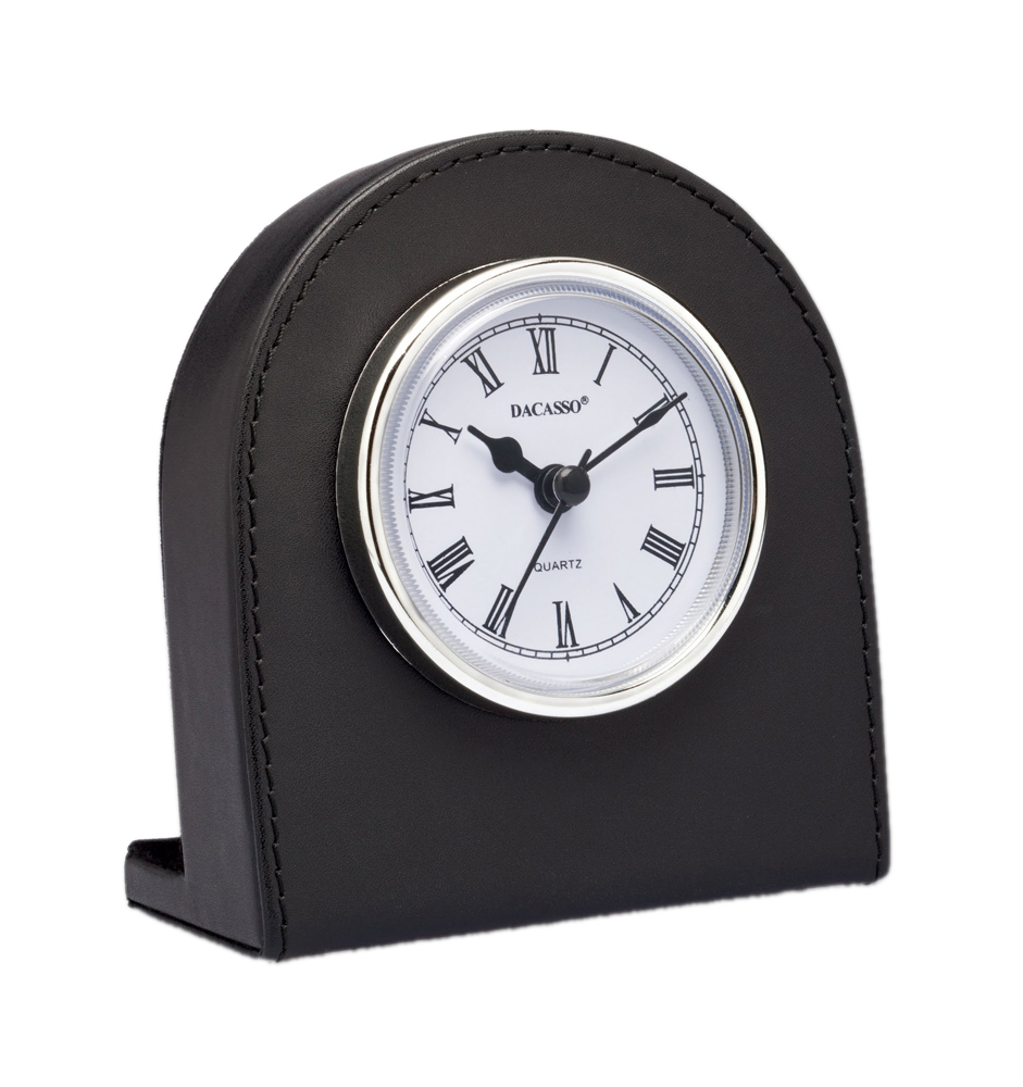Offex Classic Black Leather Desk Clock with Silver Accents