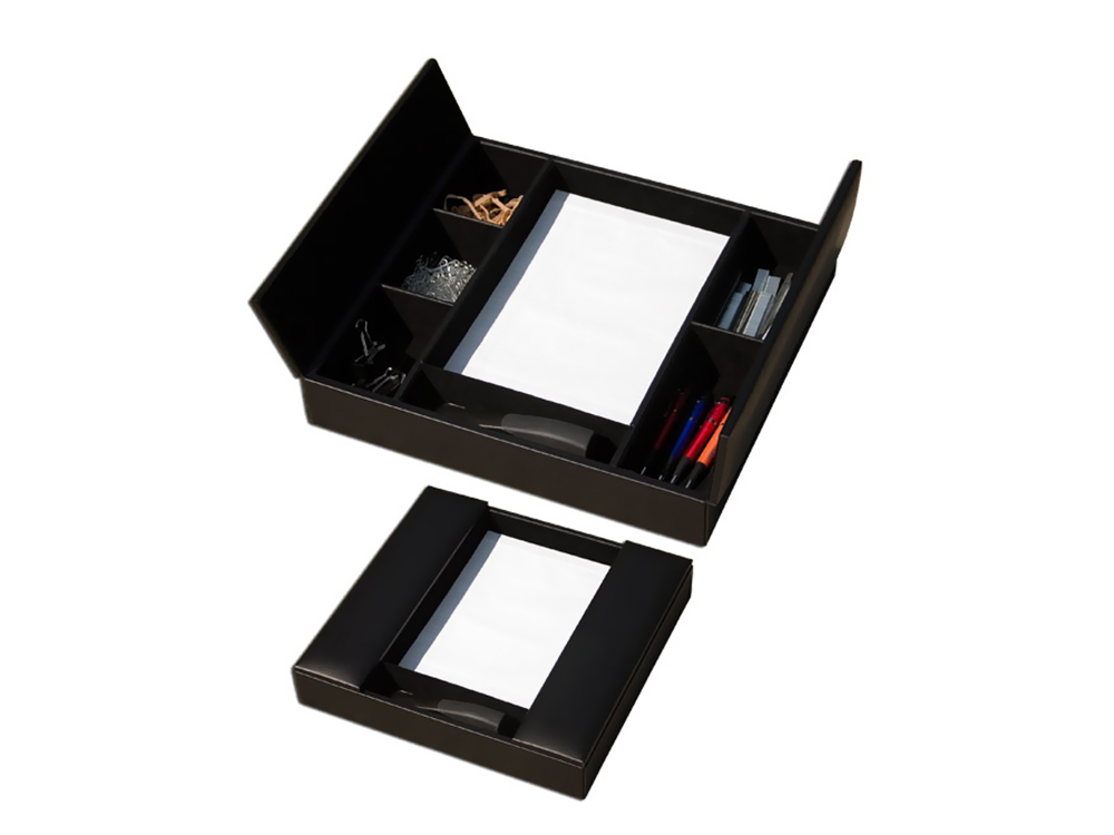 Offex Classic Black Leather Enhanced Conference Room Organizer