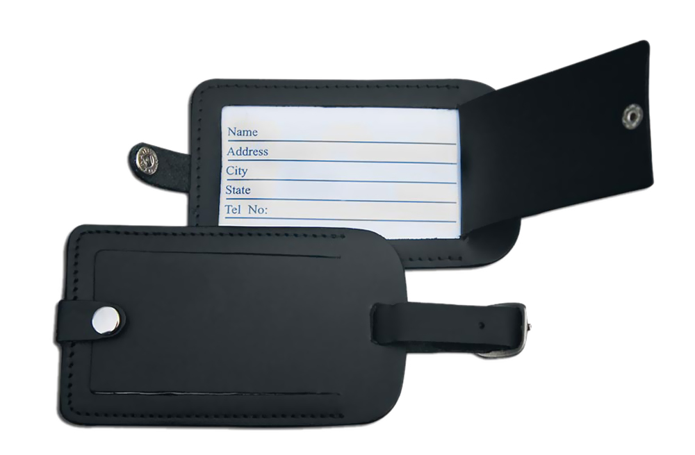 Offex Classic Black Leather Luggage Tag