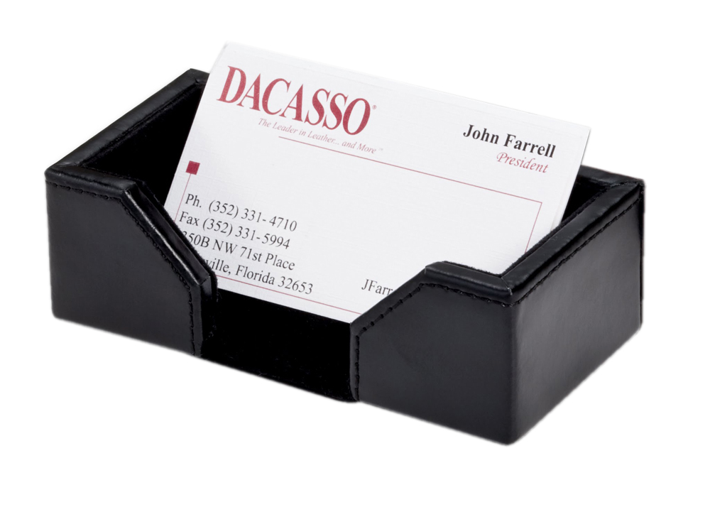 Offex Econo-Line Black Leather Business Card Holder