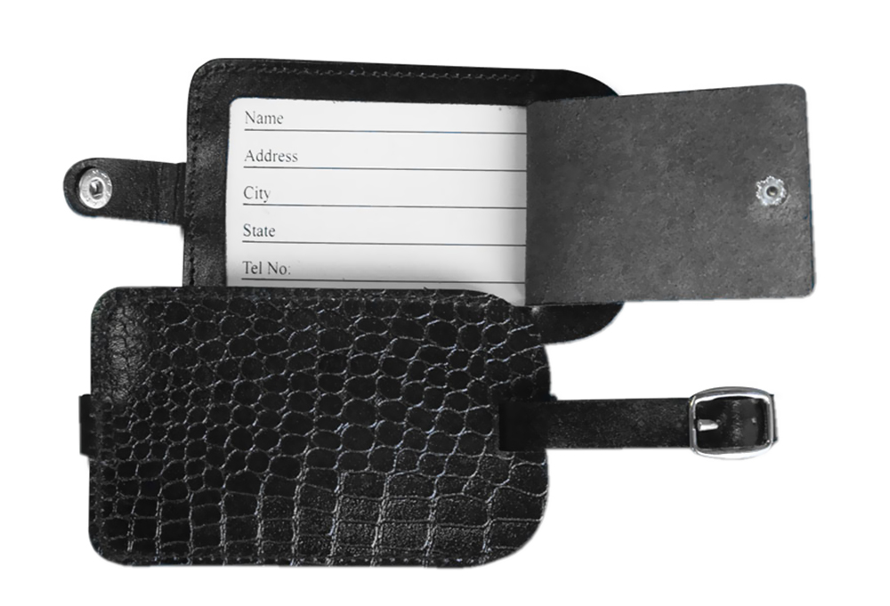 Offex Black Crocodile Embossed Leather Luggage Tag