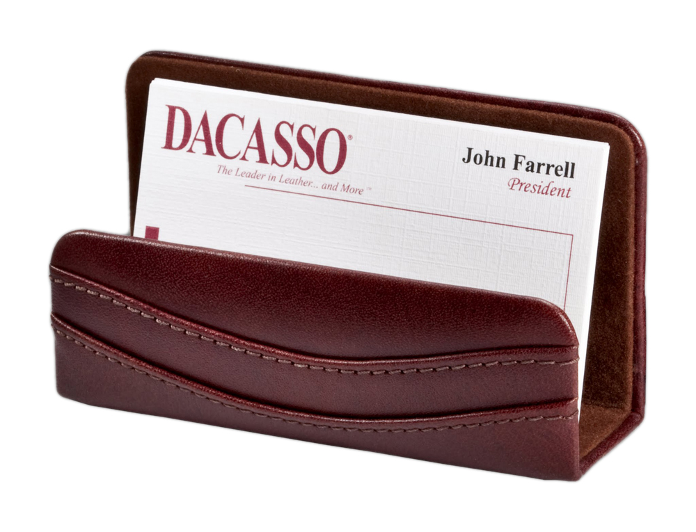 Offex Mocha Leather Business Card Holder