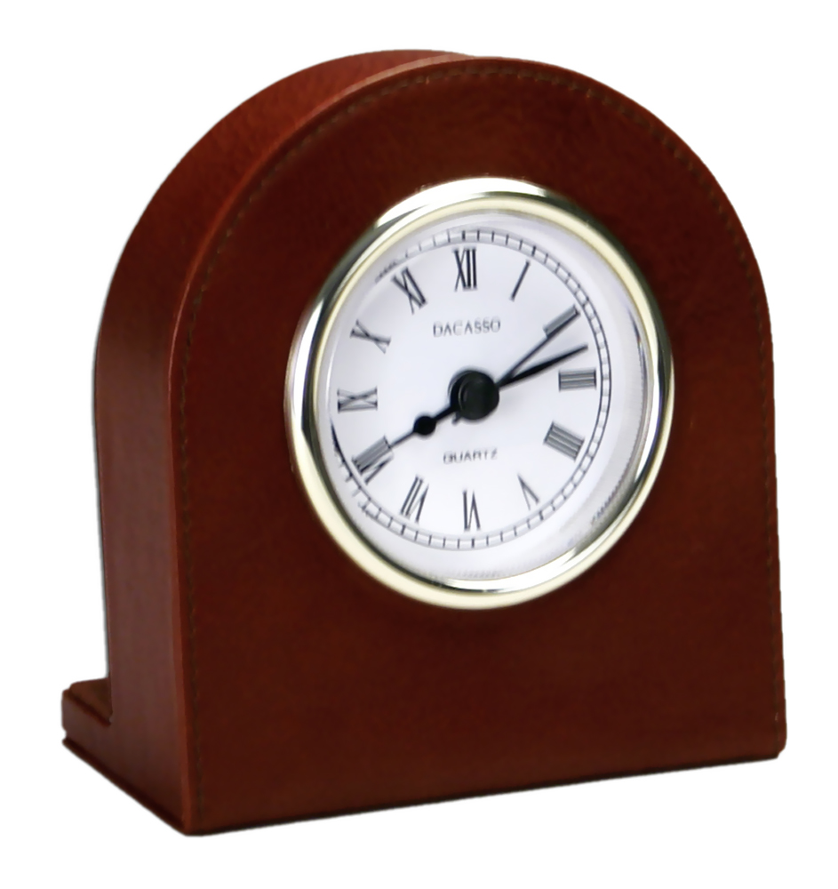 Offex Mocha Leather Clock with Gold Accents