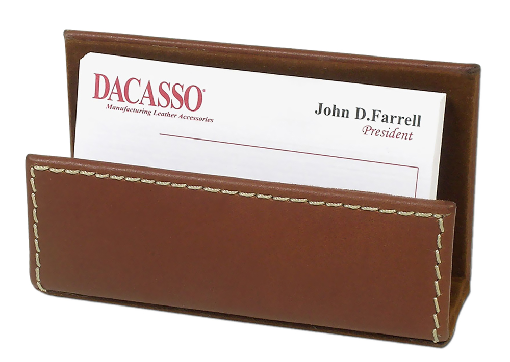 Offex Rustic Brown Leather Business Card Holder