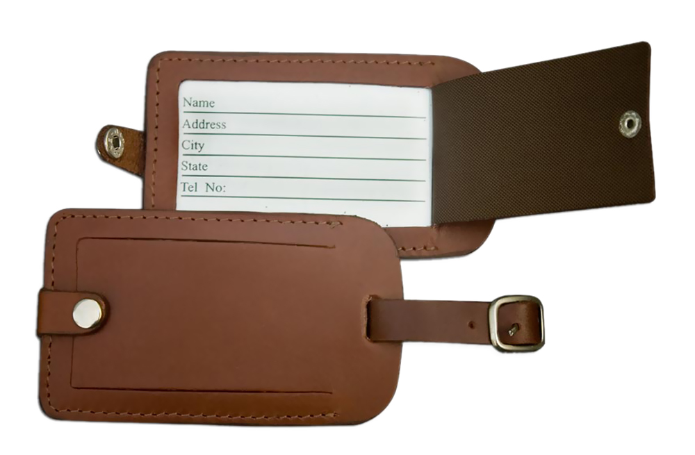 Offex Rustic Brown Leather Luggage Tag