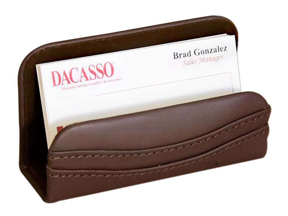 Offex Chocolate Brown Leather Business Card Holder