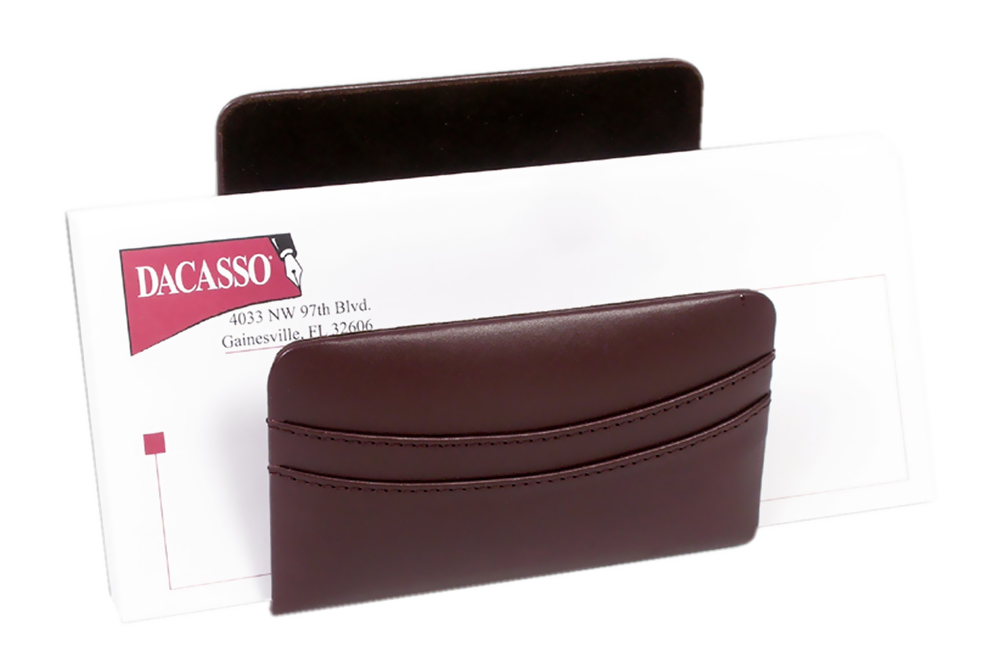 Offex Chocolate Brown Leather Letter Holder