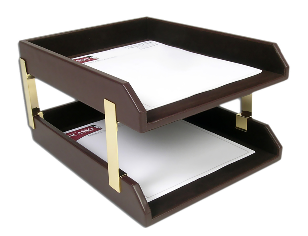 Dacasso Office Organization Paper Document Storage Desktop Decorative Chocolate Brown Leather Double Letter Trays