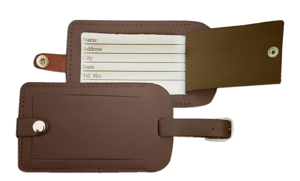 Offex Chocolate Brown Leather Luggage Tag