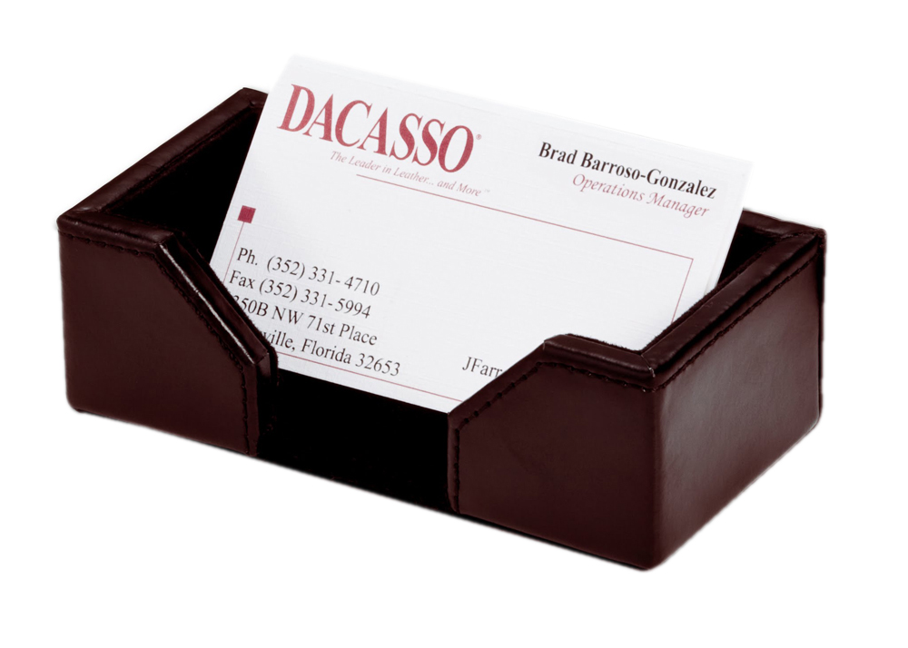Offex Econo-Line Dark Brown Leather Business Card Holder