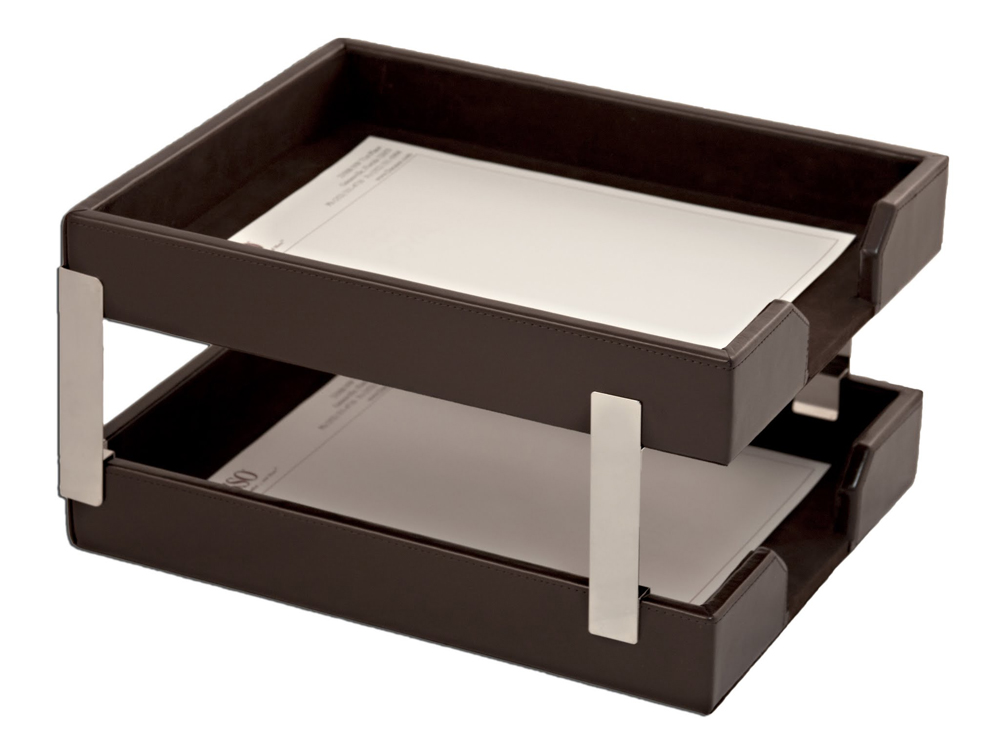 Offex Econo-Line Dark Brown Leather Double Letter Trays