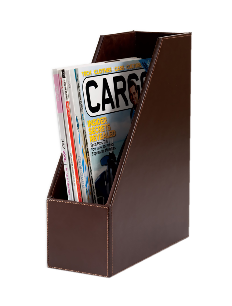 Offex Econo-Line Dark Brown Leather Magazine Rack