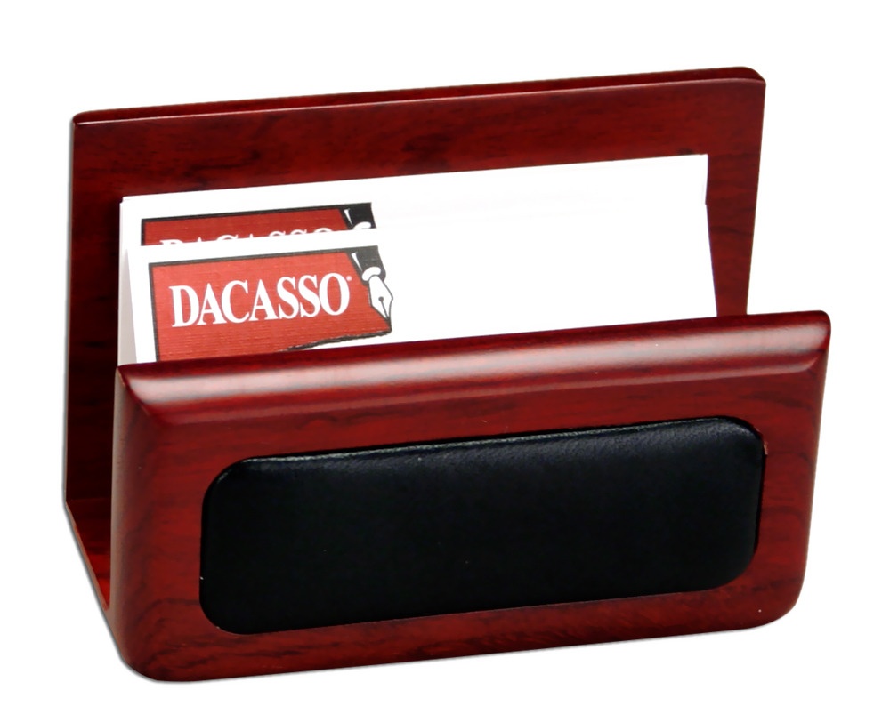 Offex Rosewood And Leather Business Card Holder