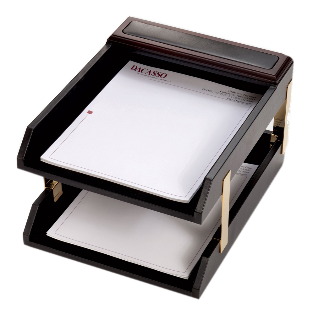 Dacasso School Office Boardroom Meeting Table Top Accessories Walnut And Leather Double Letter Trays