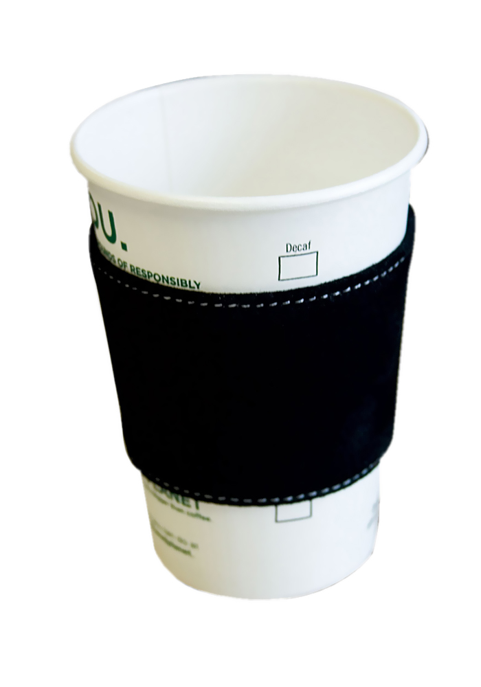 Offex Black Suede Leather Coffee Sleeve