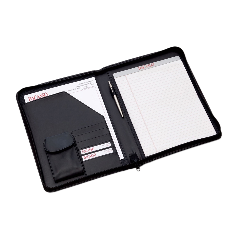 Offex Black Leather Deluxe Letter-Size Zip-Around Portfolio