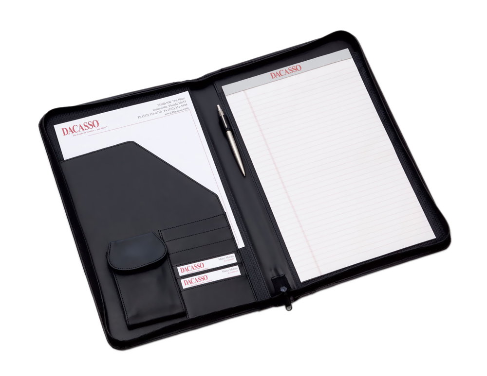 Offex Black Deluxe Zip-Around Padfolio - Legal Size