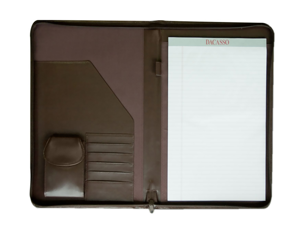 Offex Chocolate Brown Leather Deluxe Zip-Around Portfolio - Legal Size