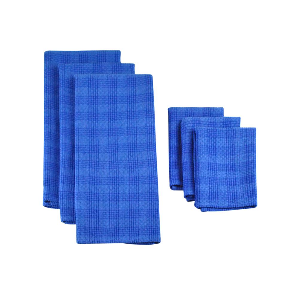 Designimports Blueberry Plaid Heavyweight Dishtowel Set Of 3 And Dishcloth Set Of 3