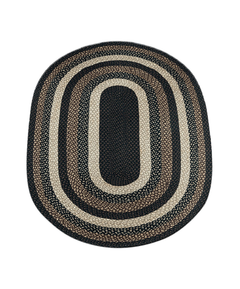 Earth Rugs C-313 Home Oval Shape Braided Jute Floor Rug