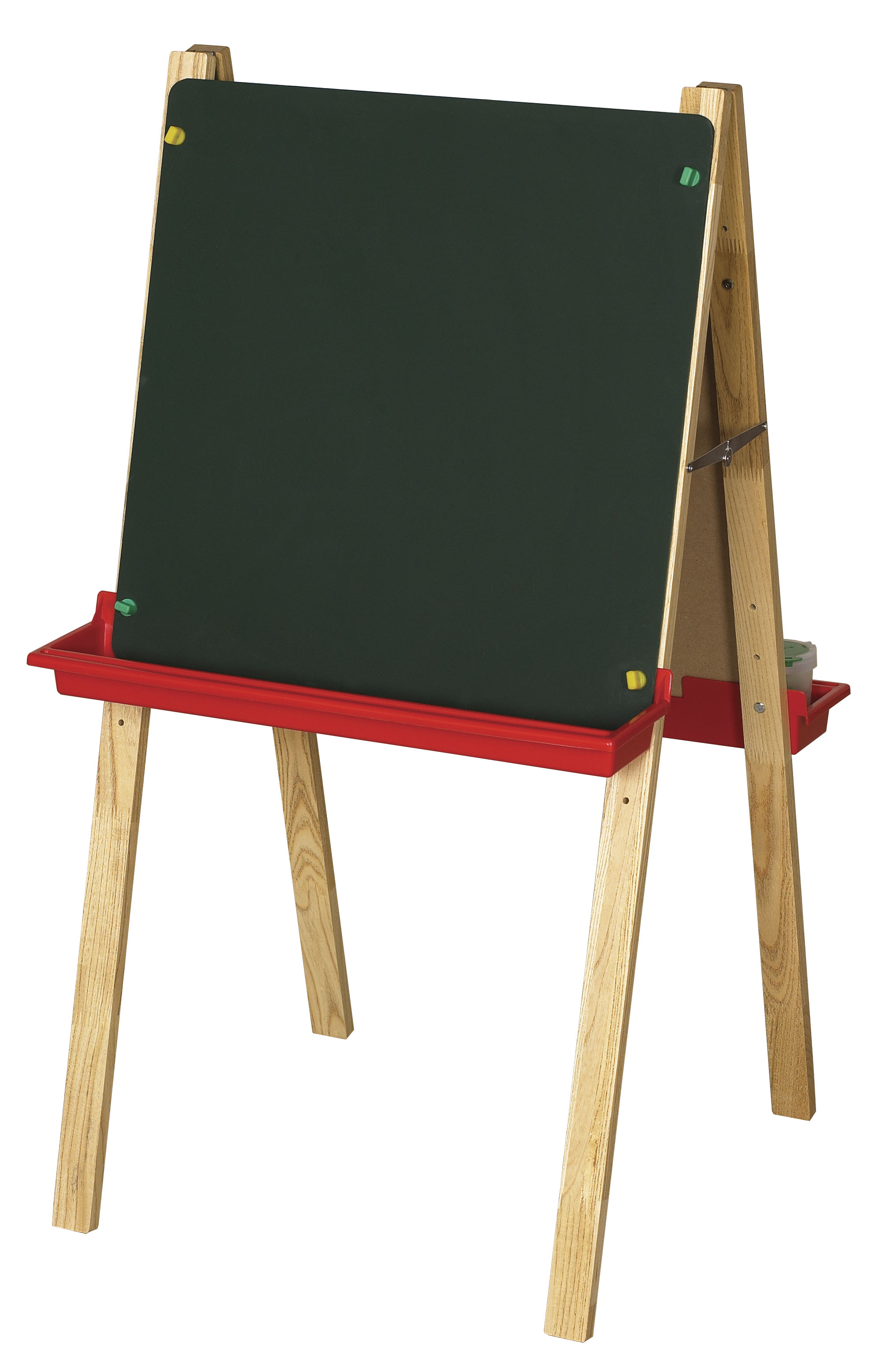 Offex Preschool Kids Double Sided Adjustable Easel with Chalkboard And White Dry Erase Board