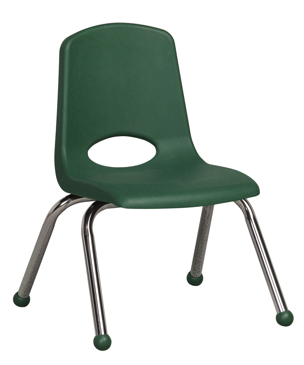 "Ecr4Kids PreSchool/ClassRoom 12"" Plastic Stack Chair W/ Chrome Legs - Green at Sears.com"