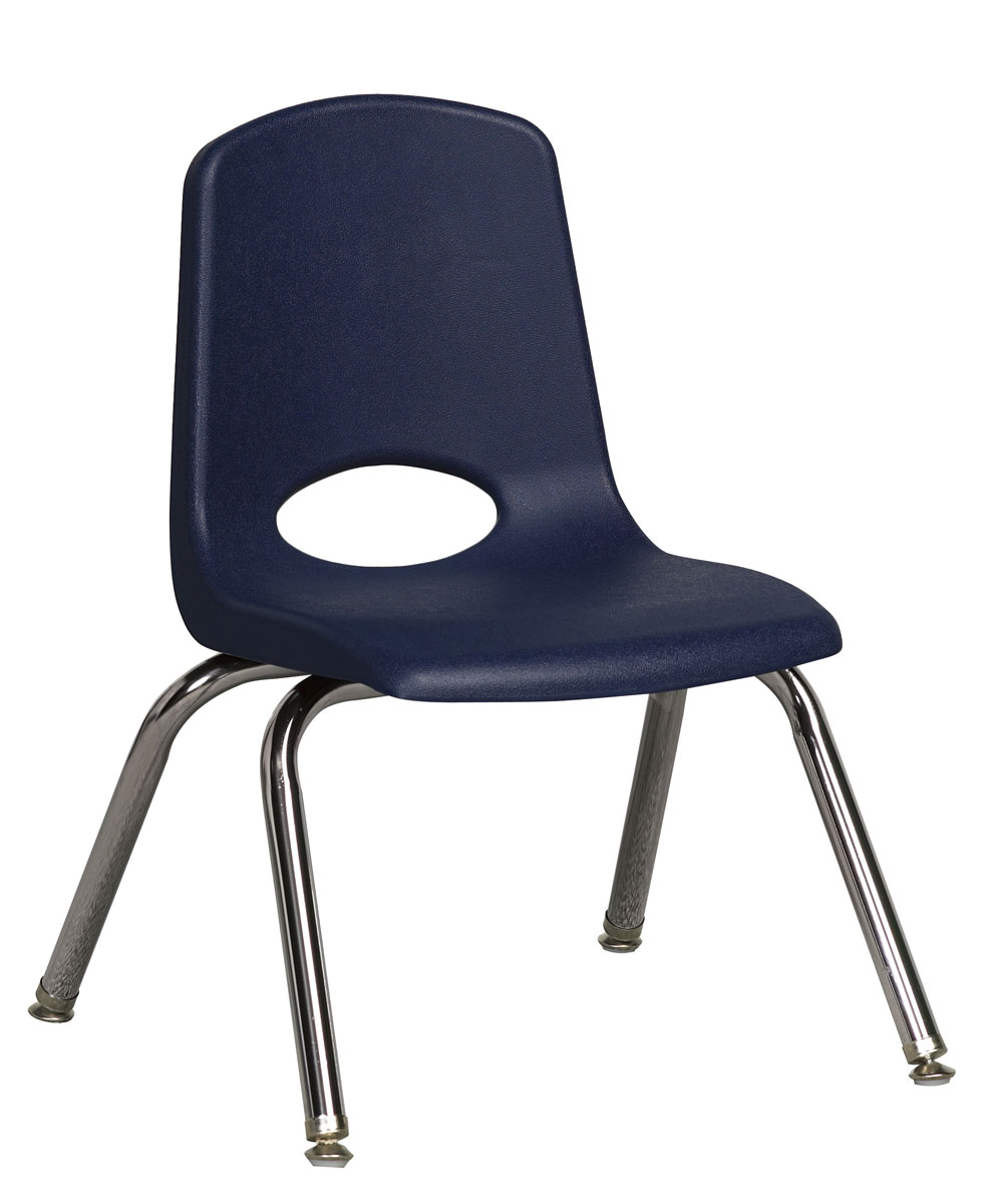 "Ecr4Kids 12"" Plastic PreSchool / ClassRoom Stack Chair W/ Chrome Legs & Navy Glide at Sears.com"