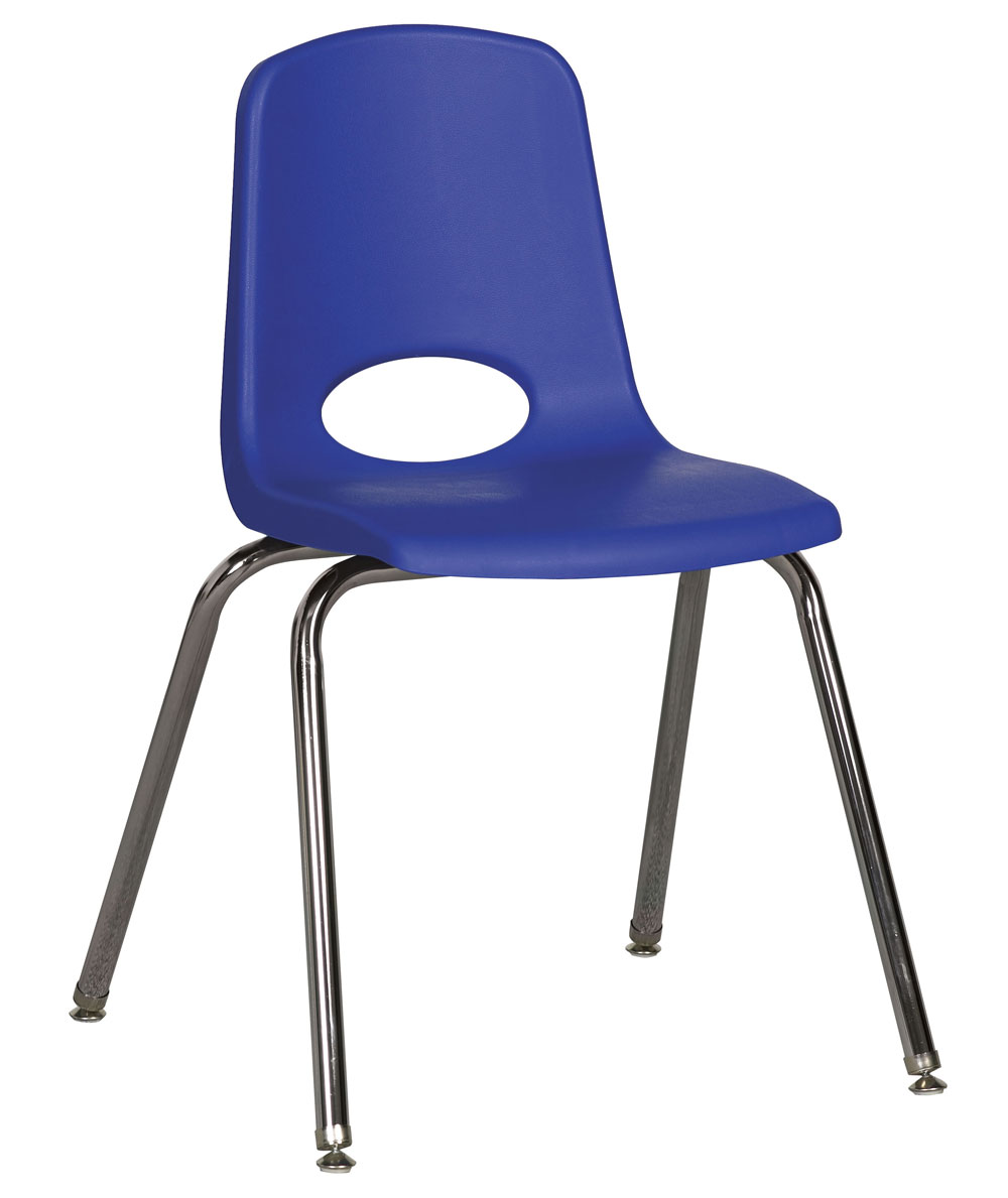 Ecr4kids 18 Plastic School Stack Chair Chrome Glide