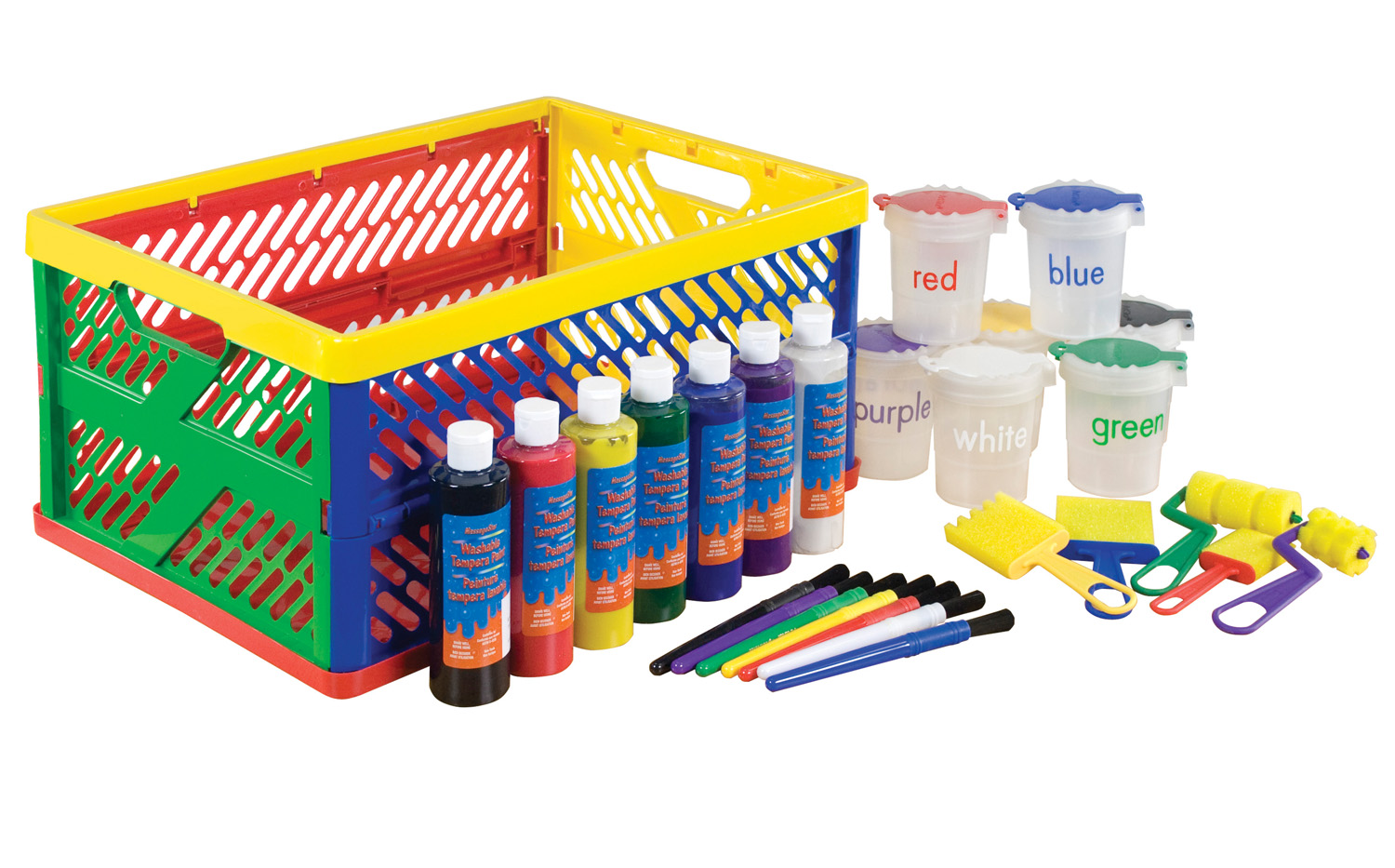 Offex Toddlers Large Paint Crate Set with Collapsible Colors - 27 Piece