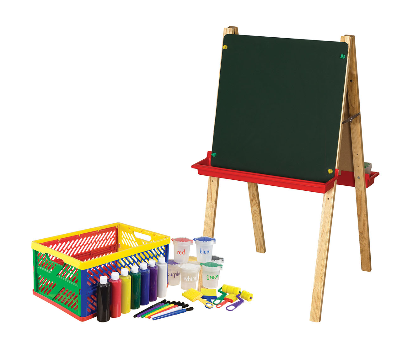 Offex Children Preschool Kindergarten Easel with Small Paint Crate Set