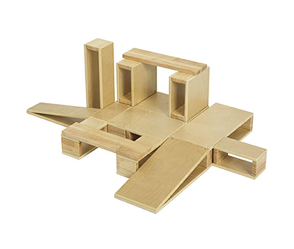 Offex Preschool Kids 18 Piece Hollow Wooden Block Set Perfect For Little Architects
