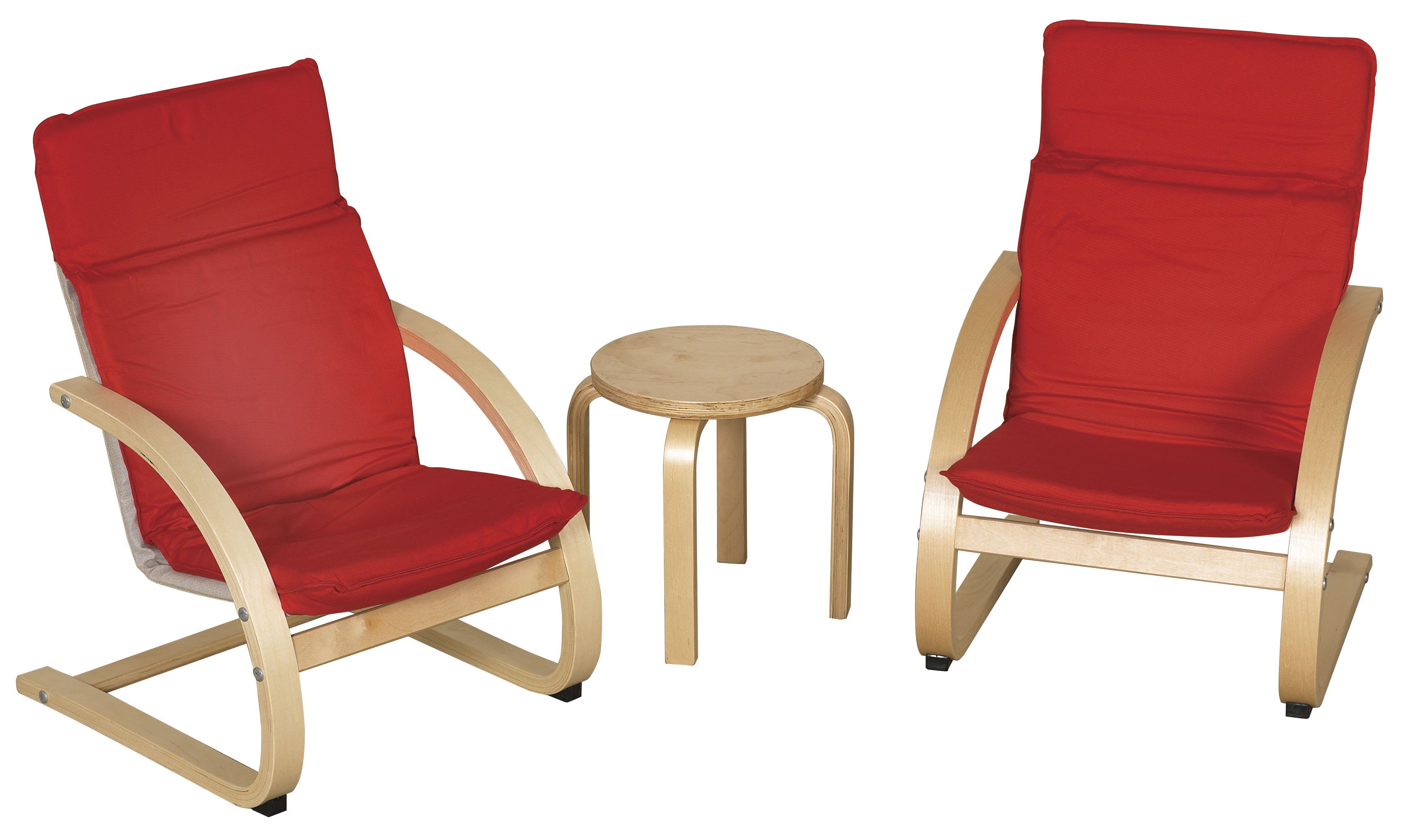 Offex Preschool Classroom Kids Bentwood Comfort Chair Set with Table Red