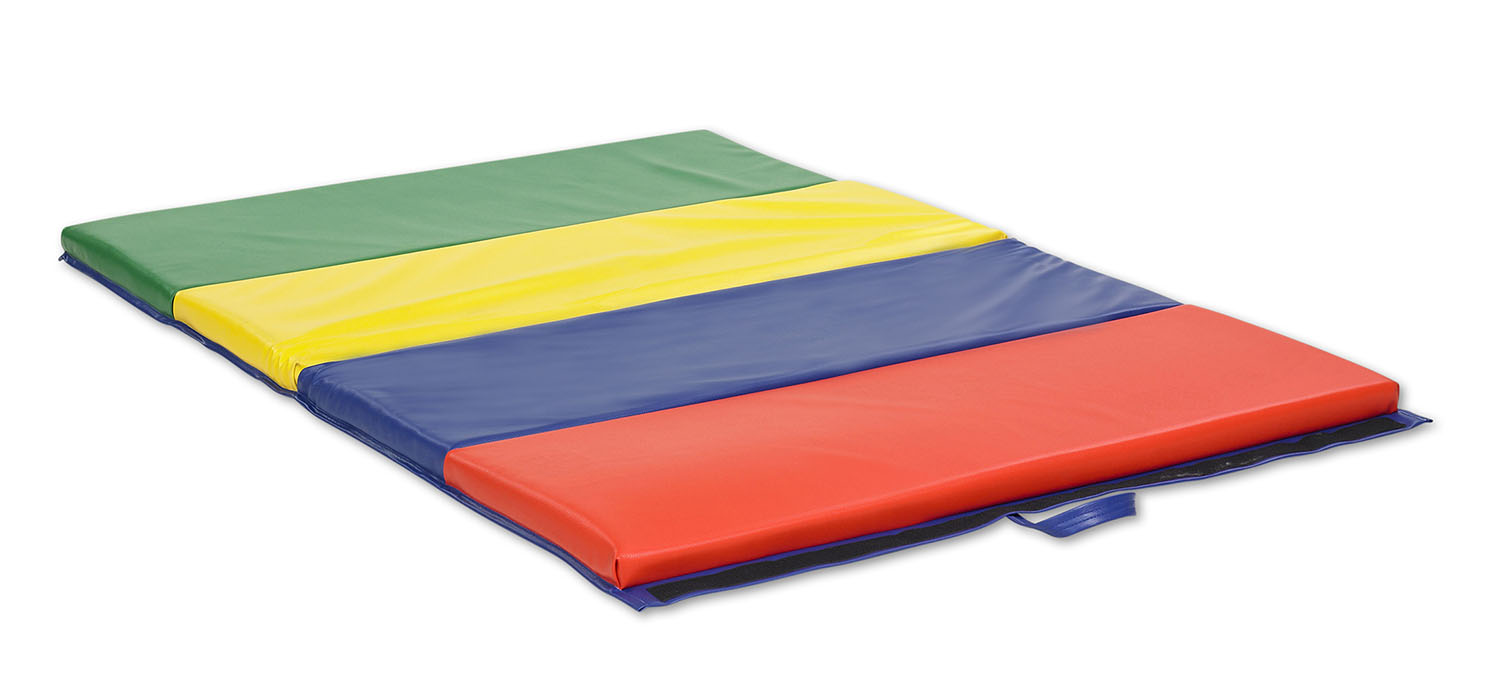 Offex 4-Panel Primary Colors Vinyl Kids Tumbling Mat with Loop - Lock Extensions