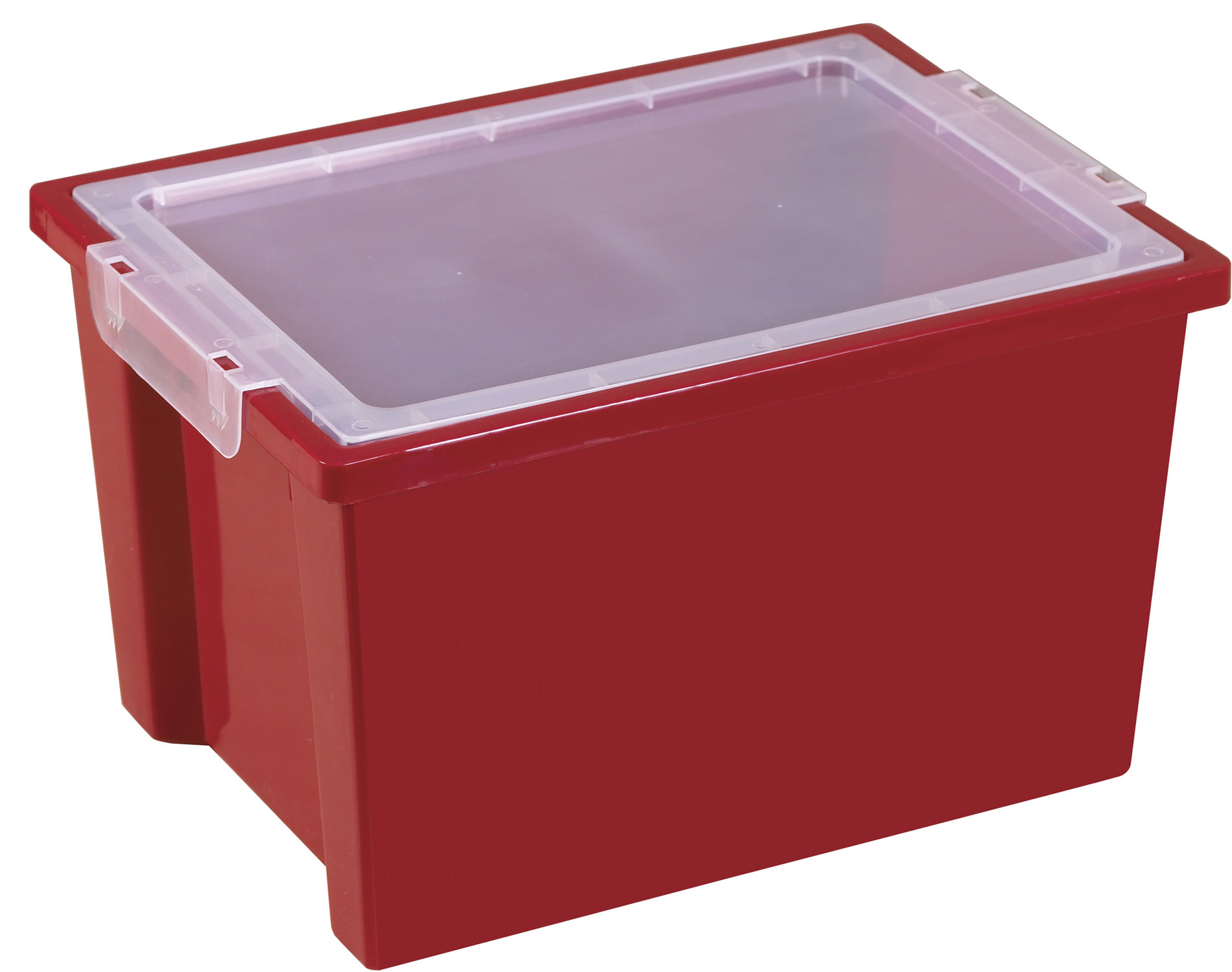Offex Large Storage Bins with Lids Red, 4 Pack