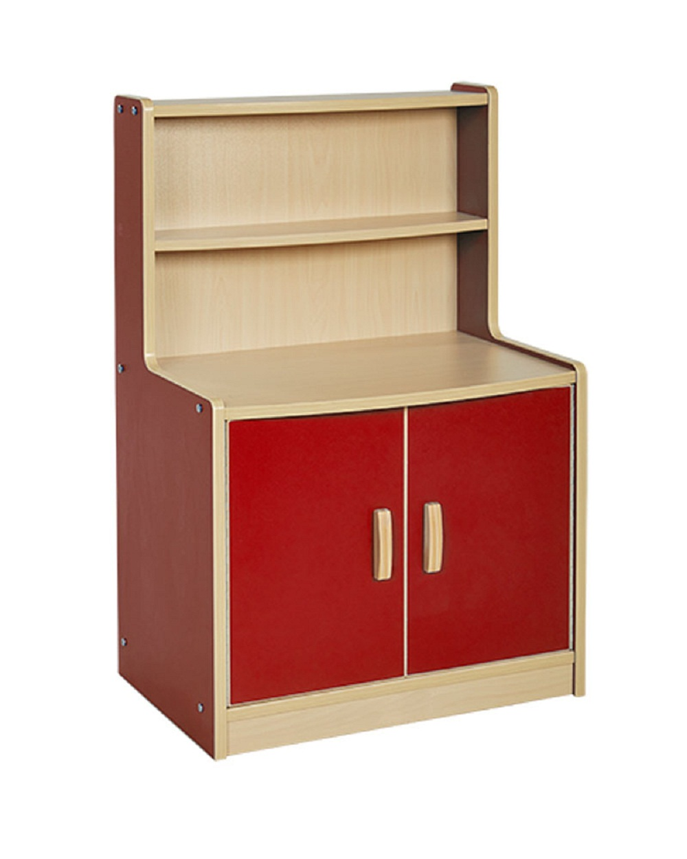 Offex Colorful Essentials Play Kitchen Red Cupboard