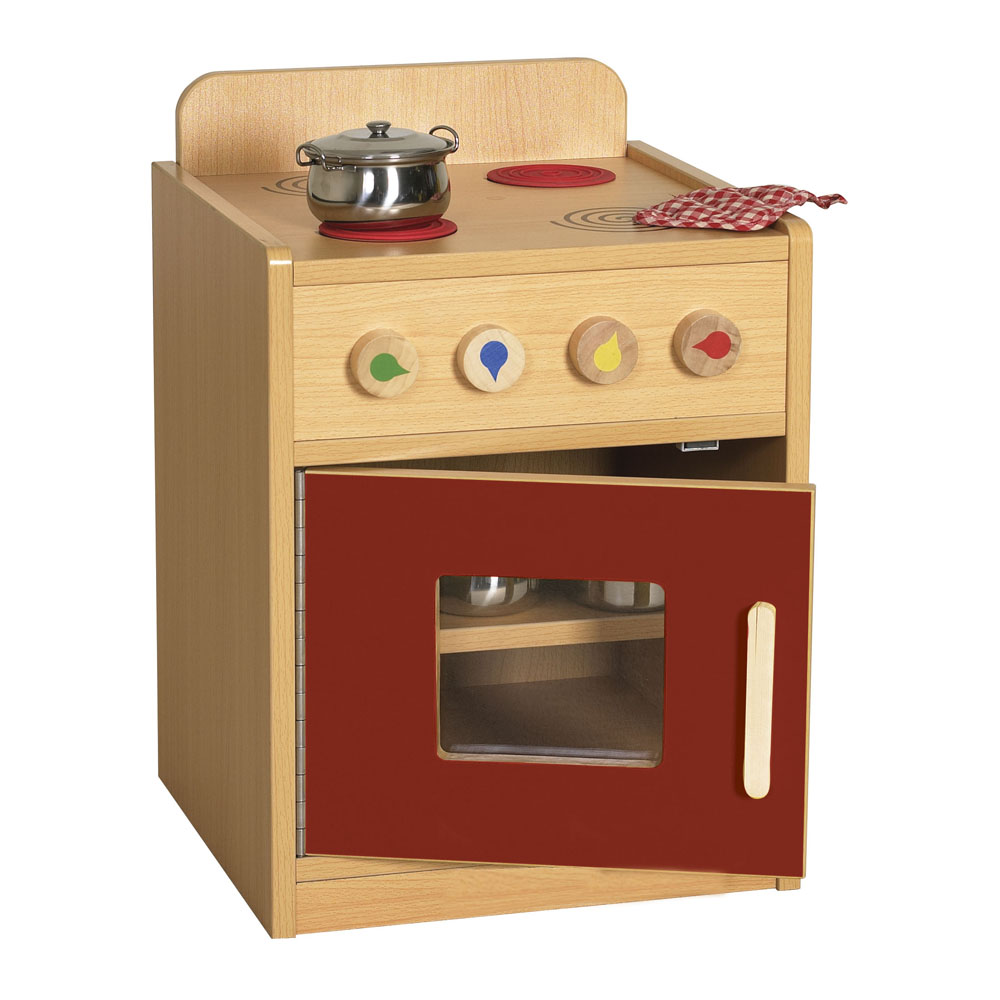 Offex Kids Children Colorful Essentials Play Kitchen Red Stove